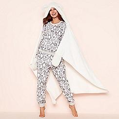 Lounge & Sleep - Cream cosy 'bear' hooded blanket