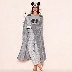 Lounge & Sleep - Grey 'Panda' hooded blanket with pockets