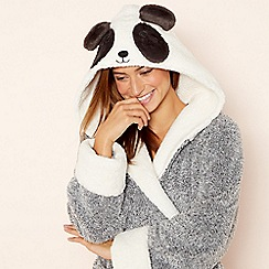 Lounge & Sleep - Grey fleece 'Panda' hooded dressing gown
