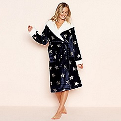 Lounge & Sleep - Navy foil star print dressing gown