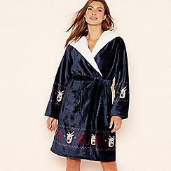 Lounge & Sleep - Navy fleece 'Reindeer' hooded dressing gown