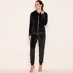 Lounge & Sleep - Black velour zip through loungewear set