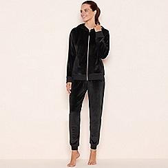 Lounge & Sleep - Black velour zip through loungewear set