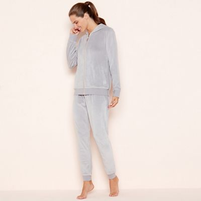 Lounge & Sleep   Light Grey Velour Zip Through Loungewear Set by Lounge & Sleep