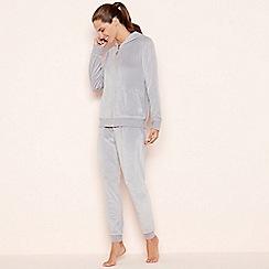 e1f3c881ff Lounge   Sleep - Light grey velour zip through loungewear set