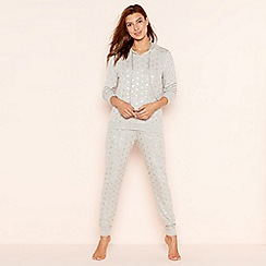 Lounge & Sleep - Grey foil spot print knit look loungewear set