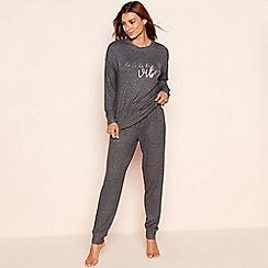 Lounge & Sleep - Dark grey knit look 'Weekend Vibes' long sleeve pyjama set