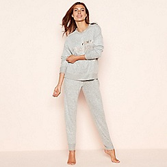 Lounge & Sleep - Light grey studded knit look 'Choose Happy' long sleeve pyjama set