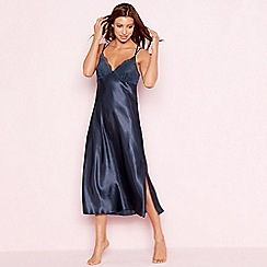 The Collection - Navy lace trim 'Empress' satin nightdress
