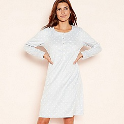 Lounge & Sleep - Light blue spot print 'Classic' fleece nightdress