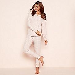 Lounge & Sleep - Pink foil star print knit look loungewear set