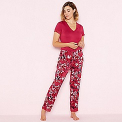 Gorgeous DD+ - Bright pink floral print 'Balmoral' short sleeve pyjama set
