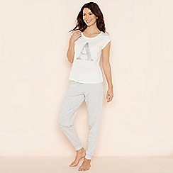 Lounge & Sleep - Light grey 'A' glitter monogram short sleeve pyjama set