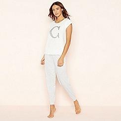 Lounge & Sleep - Light grey 'C' glitter monogram pyjama set