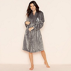 Lounge & Sleep - Grey 'A' glitter monogram fleece dressing gown