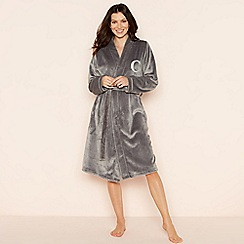 Lounge & Sleep - Grey 'C' glitter monogram fleece dressing gown