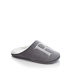 Lounge & Sleep - Grey monogram 'R' fluffy mule slippers