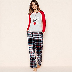 Lounge & Sleep - Red 'Team Rudolph' Check Print Cotton Pyjama Set