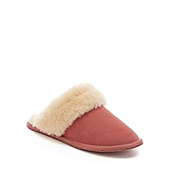 Lounge & Sleep - Pink real suede faux fur cuff mule slippers