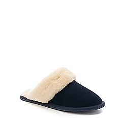 Lounge & Sleep - Navy real suede faux fur cuff mule slippers