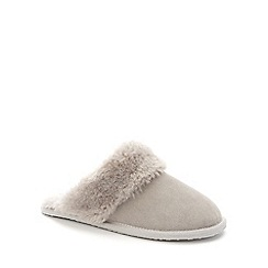 Lounge & Sleep - Light grey real suede faux fur cuff mule slippers