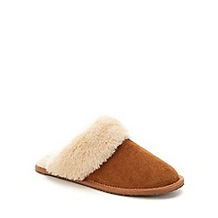 Lounge & Sleep - Tan real suede faux fur cuff mule slippers