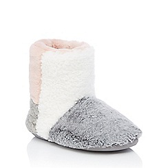 Lounge & Sleep - Pink colour block faux fur boot slippers