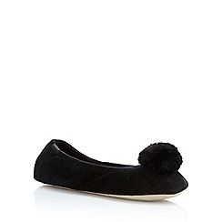 Totes - Black faux suede ballet slippers
