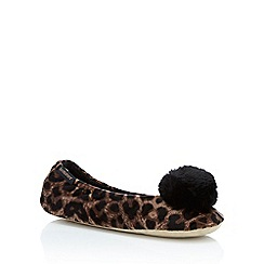 Totes - Brown leopard print faux suede ballet slippers