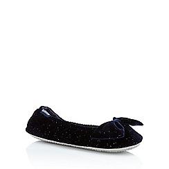 Totes - Navy sparkle bow velvet ballet slippers