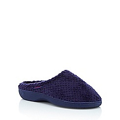 Totes - Navy fluffy 'Isotoner Pillowstep' mule slippers