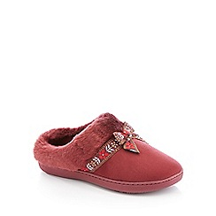 Totes - Dark Red Bow Applique Mule Slippers