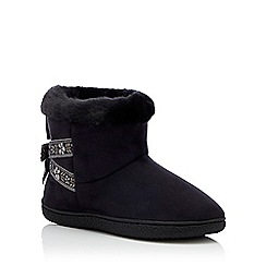 Totes - Black folk tape suedette 'Isotoner Pilowstep' boot slippers