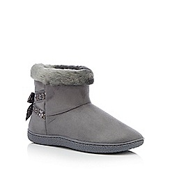 Totes - Dark grey folk tape suedette 'Isotoner Pilowstep' boot slippers