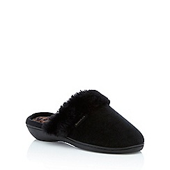 Totes - Black faux fur cuff 'Isotoner Pillowstep' mule slippers