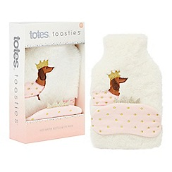 Totes - White fluffy sausage dog hot water bottle and eye mask set