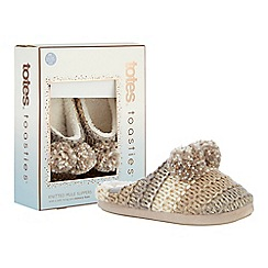 Totes - Light brown knitted pom pom mule slippers