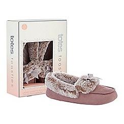 Totes - Mauve suedette faux fur moccasin slippers