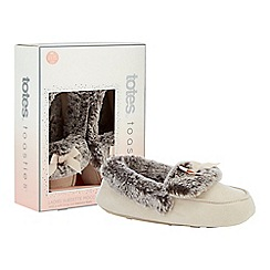 Totes - Natural suedette faux fur moccasin slippers