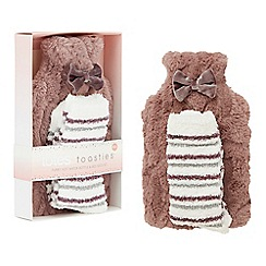 Totes - Mauve fluffy hot water bottle and bed sock set