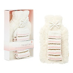 Totes - Cream fluffy hot water bottle and bed sock set