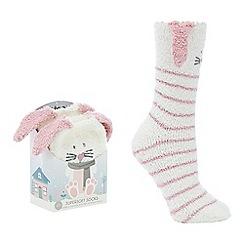 Totes - Pink fluffy bunny slipper socks