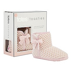 Totes - Light pink waffle knit slipper boots
