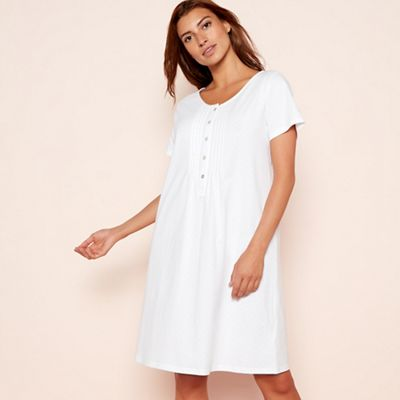 Lounge   Sleep Cream spot print pure cotton short sleeve nightdress ... a3d3e024b