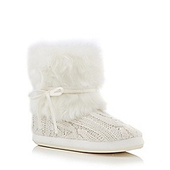 Lounge & Sleep - Cream fur cuff knitted slipper boots