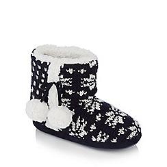 Lounge & Sleep - Grey 'Fairisle' knitted slipper boots