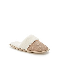 Lounge & Sleep - Gold faux fur glitter mule slippers