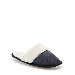 Lounge & Sleep - Blue faux fur glitter mule slippers