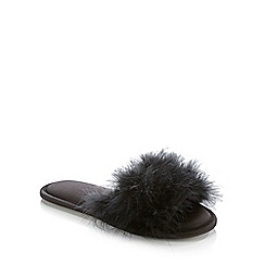 The Collection - Black Feather 'Glam' Mule Slippers