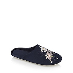 The Collection - Navy floral embroidered satin closed slipper mules